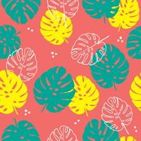 Floral seamless pattern of tropical leaves in flat style.