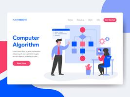 Landing page template of Computer Algorithm Illustration Concept. Isometric flat design concept of web page design for website and mobile website.Vector illustration