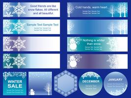 Set of assorted winter season banners/cards.