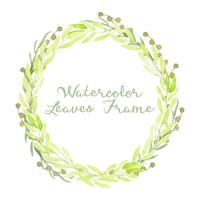 watercolor green leaves frame
