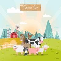 Dibujos animados de animales lindos granja en granja rural orgánica.