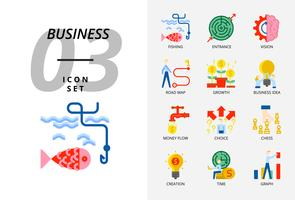 Icon pack voor zaken en strategie, vissen, entree, visie, wegenkaart, groei, bedrijfsidee, geldstroom, keuze van de beslissing, scheppingstijd, grafiek.
