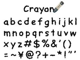 Vector crayon font. Lower case and signs in black.