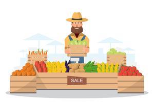 Hofladen. Lokaler Markt. Verkauf von Obst und Gemüse.