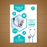 Cobertura de cuidados de saúde a4 modelo de design para um relatório e folheto médico design, folheto, decoração de folhetos para impressão e apresentação de ilustração vetorial