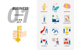 Icon pack for business and strategy, Personal key, vision, brainstorm, employee, skill, sign contract, profit, leader, goal, teamwork, sign, planning. vector
