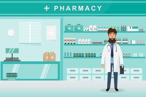 Farmacia con medico en mostrador. personaje de dibujos animados de droguería