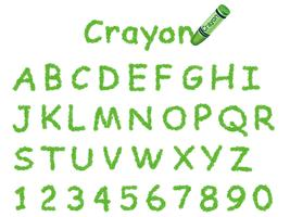 Vector crayon font. Caps and numbers in green.
