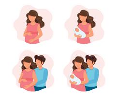 Pregnancy and parenthood concept illustrations - different scenes with pregnant woman, woman holding a newborn baby, an expecting couple, parents with a baby. Vector illustration in cartoon style.
