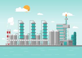 Industrial factory in the sea on flat style. Vector and illustration of manufacturing building