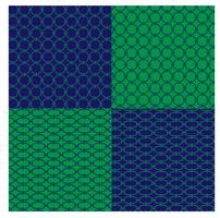 blue and green geometric chain patterns