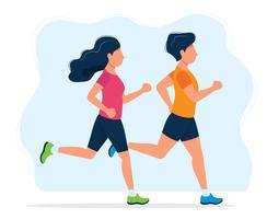Uomo e donna che corrono. Illustrazione di concetto per uno stile di vita sano, sport, jogging, attività all'aria aperta. Illustrazione vettoriale in stile piatto