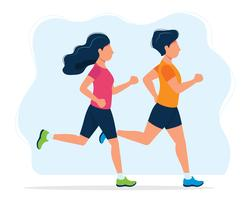 Man and woman running. Concept illustration for healthy lifestyle, sport, jogging, outdoor activities. Vector illustration in flat style