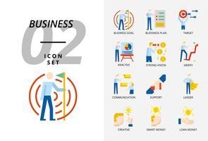 Pack d'icônes pour les entreprises et la stratégie, objectif commercial, plan d'entreprise, cible, analyste, vision forte, graphique, communication, support, leader, créatif, argent intelligent, prêt d'argent