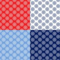 seamless red white blue ship wheel and rope patterns