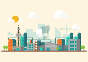 Industrial factory in a flat style. vector
