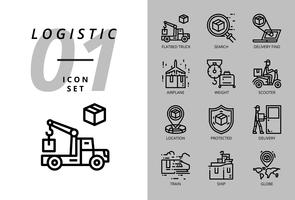 Icon pack for logistics , flatbed truck, search product, delivery find, airplane, weight, scooter, location, protected, delivery, train, ship, globe location.