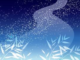 A Via Láctea e o bambu saem do fundo para o festival japonês da estrela.