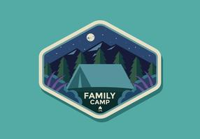 Family Camp Retro Badge Vector