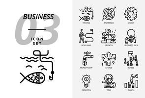 Pacote de ícone para negócios e estratégia, pesca, entrada, visão, mapa de estrada, crescimento, ideia de negócio, fluxo de dinheiro, cess escolha, tempo de criação, gráfico.