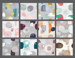 Vector set of seamless patterns with brush strokes in memphis style.