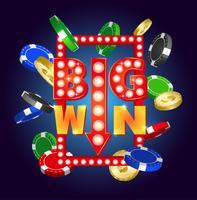 Letrero retro con lámpara Big Win. Falling casino fichas y monedas.