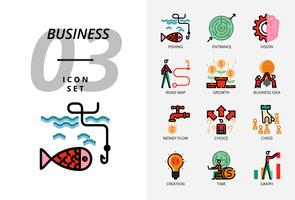 Icon pack for business and strategy, Fishing, entrance, vision, road map, growth, business idea, money flow, choice cess, creation time, graph.