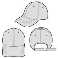 Modelo de esboço plana de moda de boné de beisebol