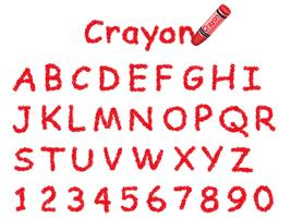 Vector crayon font. Caps and numbers in red.