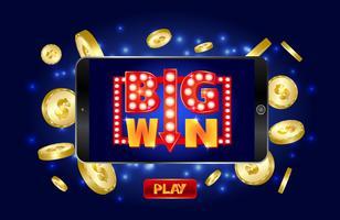Banner de marketing de casino en línea, toque para jugar botón.