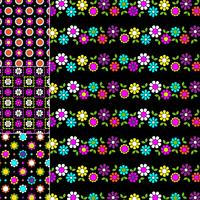 mod geometric and floral patterns on black backgrounds