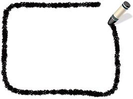 Black rectangle crayon frame.  vector