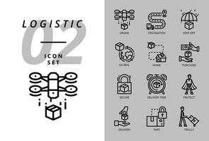 Icon pack voor logistiek, drone bezorging, bestemming, droog houden, wereldwijde logistiek, thuis, aankoop, veilig, levertijd, beschermen, bezorgen, veilig, trolly.