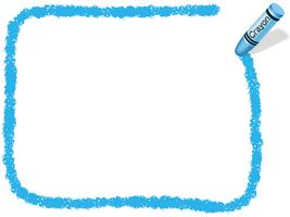 Blue rectangle crayon frame, vector illustration.