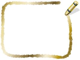 Gold rectangle crayon frame, vector illustration.