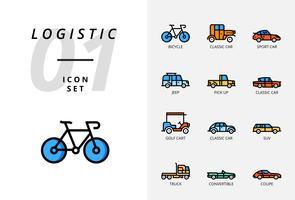 Pack d'icônes pour la logistique, camion à plateau, produit de recherche, livraison, avion, poids, scooter, emplacement, protégé, livraison, train, bateau, emplacement du globe.