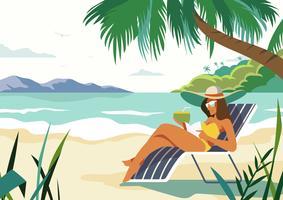 Persoon die van de zomer geniet bij strand