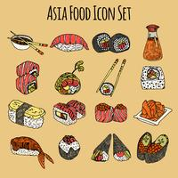 Asia Food Icon Set de couleur