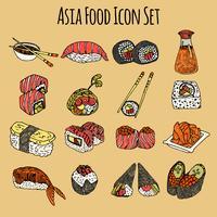 Conjunto de iconos de comida de Asia coloreado