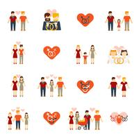 Non-traditional family icons set flat
