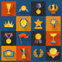 Iconos de premios establecidos planos