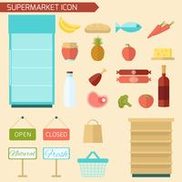 Supermarkt pictogram plat