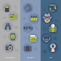 Spy gadgets banners set