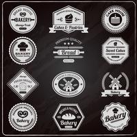 Conjunto de etiquetas de pizarra panadería vintage