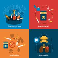 Smoking Flat Set vector