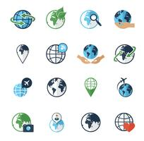 Globe jorden ikoner ställs platt