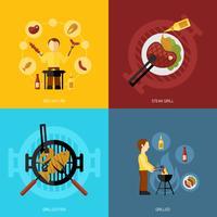 BBQ-grill pictogram plat