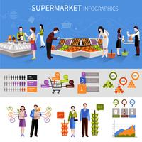Supermercado personas infografía