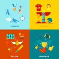 Campeonato iconos planos