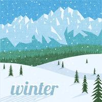 Winter landscape tourism background